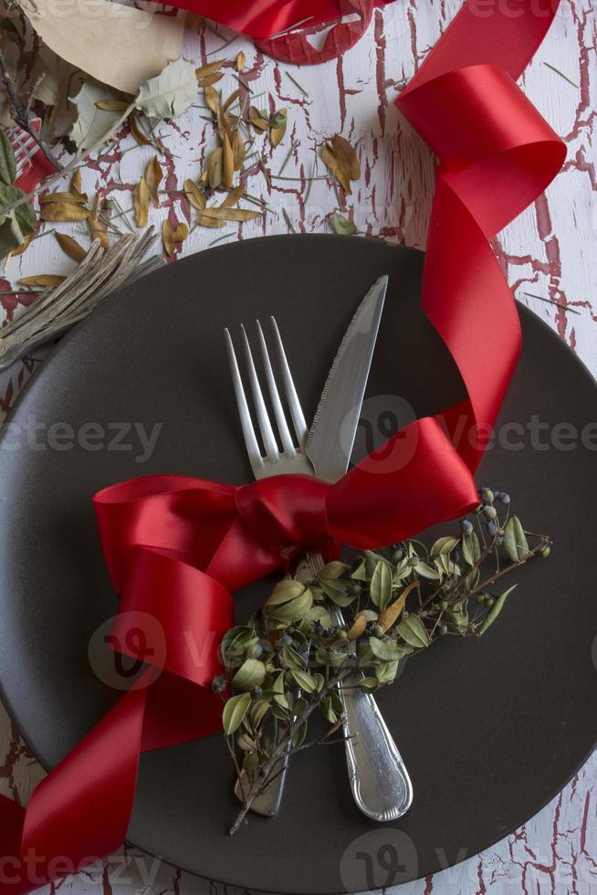 impostazione posto tavola di Natale foto