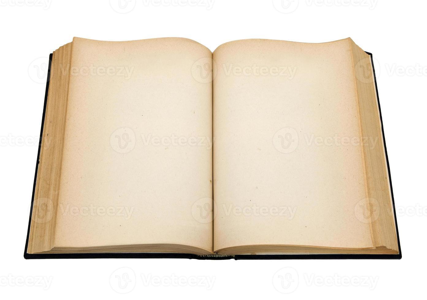 stara otwarta książka z pustymi stronami foto