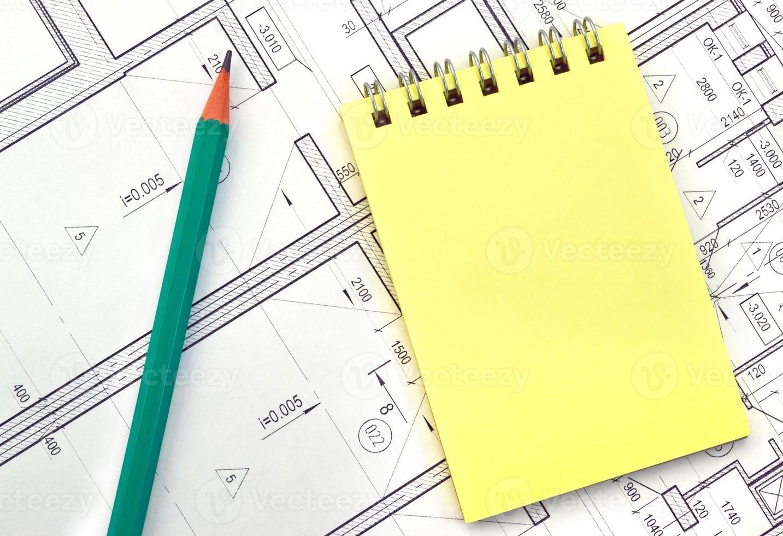 quaderno sullo sfondo del disegno foto