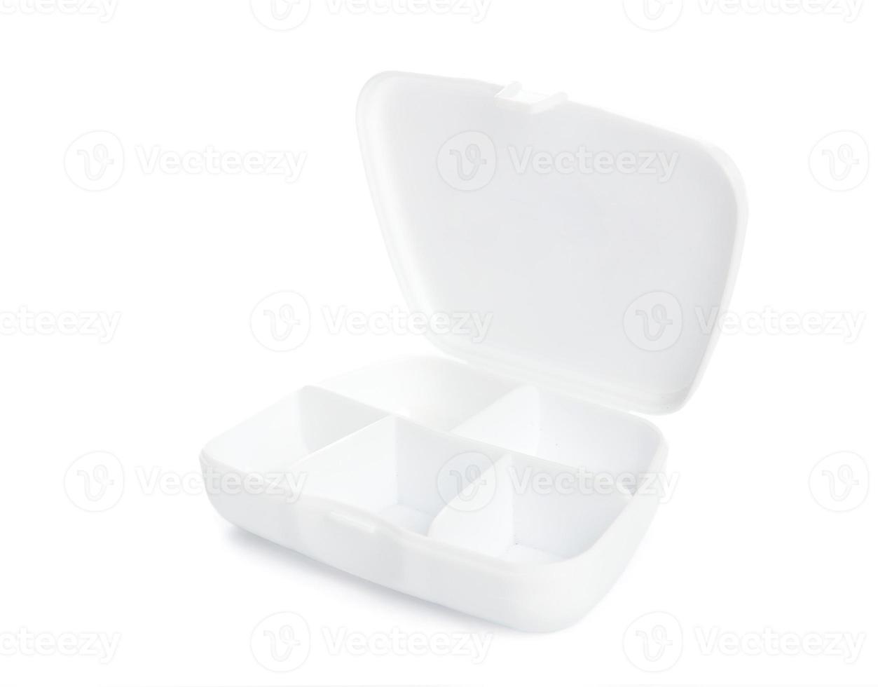 organizzatore bianco della scatola della pillola isolato foto