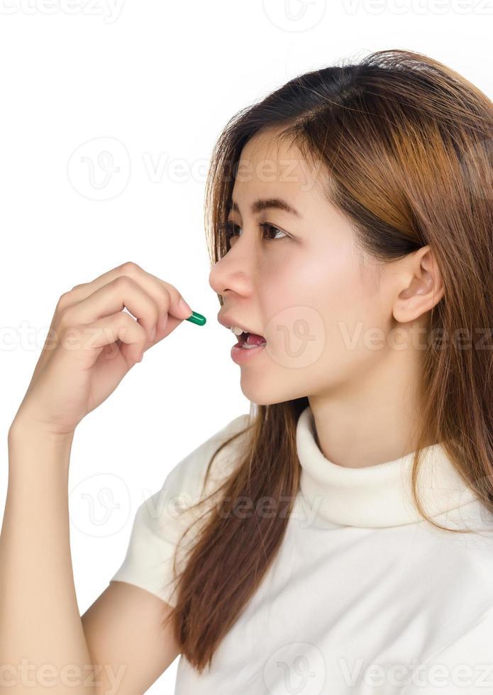 donna con medicina. foto