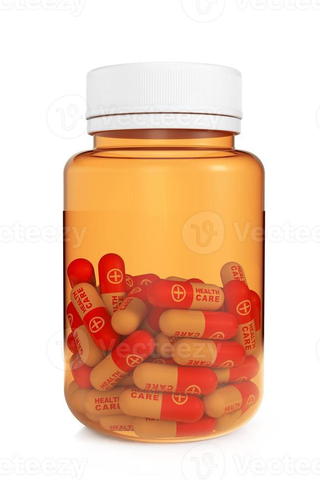 concetto di assistenza sanitaria. bottiglia medica con pillole foto
