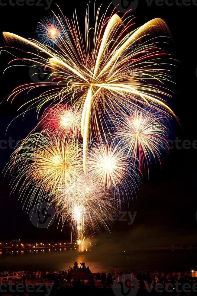 fuochi d'artificio vivacemente colorati nel cielo notturno foto