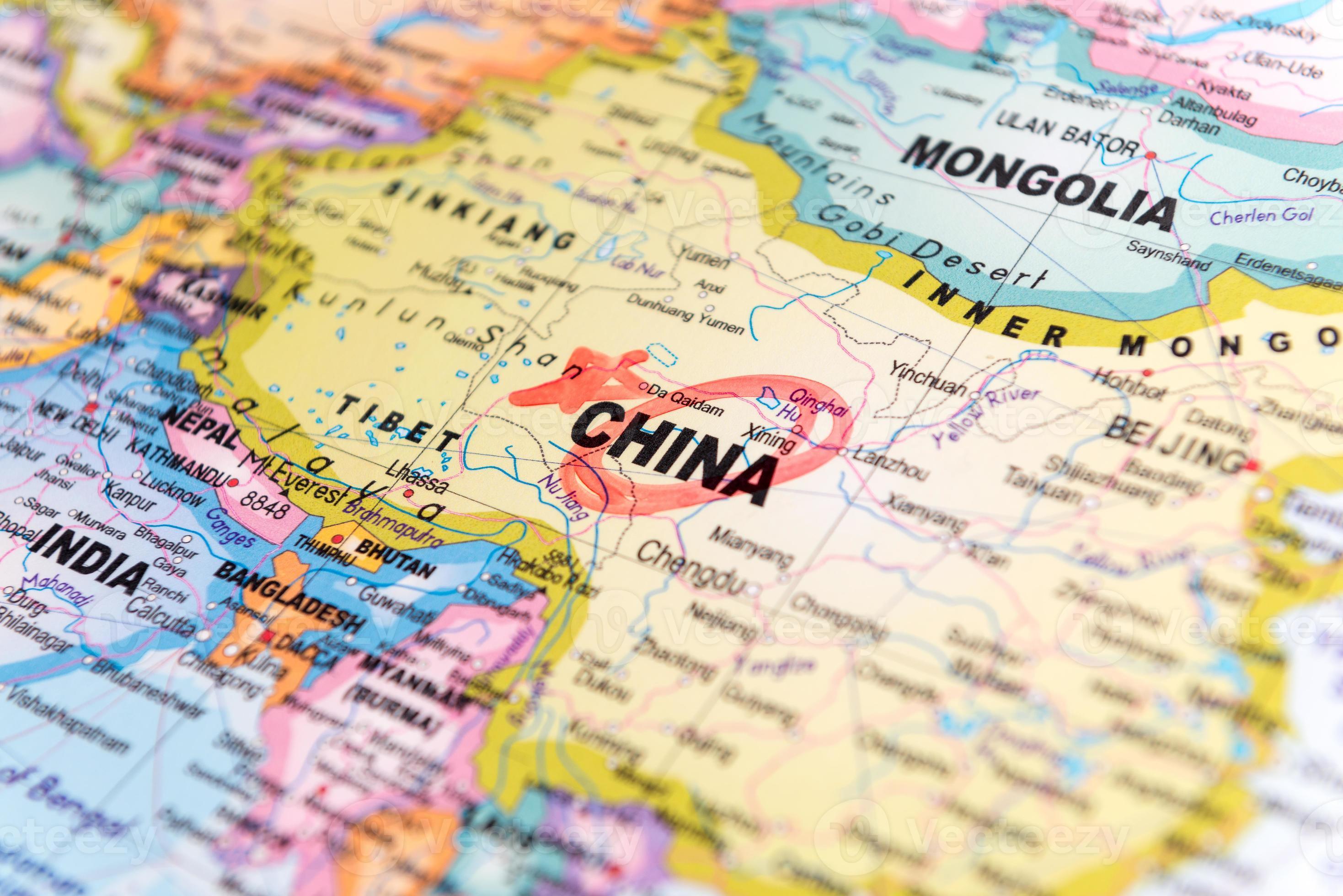 Cartina Geografica Della Cina.Mappa Della Cina 1113757 Foto D Archivio