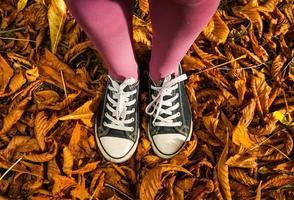 in piedi sullo sfondo di foglie d'autunno