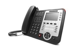 telefono nero dell'ufficio del IP isolato foto