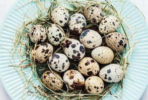 pasqua - uova di quaglia con fieno sul piatto blu pastello