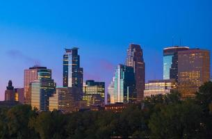 Skyline del centro di Minneapolis all'alba