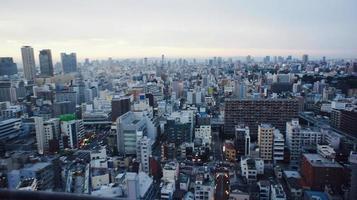 Vista della città di Osaka dalla cima della torre di Osaka foto
