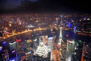 vista aerea di notte di Shanghai foto