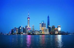 Shanghai di notte, Cina foto