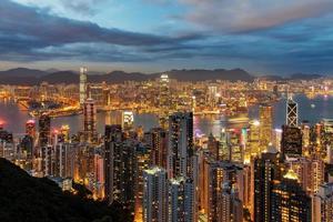 Hong Kong skyline di notte. foto
