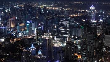 notte di paesaggio urbano, vista a volo d'uccello di Bangkok foto