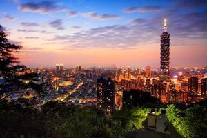 vista del paesaggio della città di Taipei al crepuscolo foto