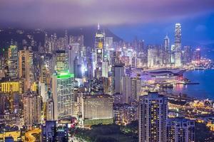 orizzonte della città di Hong Kong Cina foto
