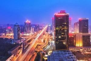 foschia a Pechino cbd skyline tramonto, scena notturna