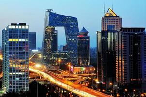 Pechino dopo la scena del tramonto-notte di CBD foto