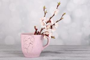 bellissimo fiore di albicocca in tazza su sfondo chiaro foto