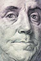 il volto di Franklin la macro della banconota da un dollaro foto