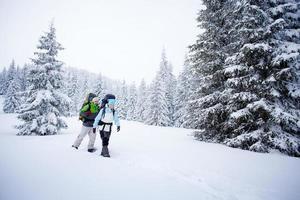 escursionista nella foresta invernale