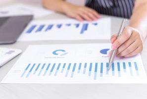 il lavoratore finanziario analizza il grafico di crescita sul lavoro foto