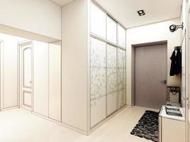 interior design moderno di hall, corridoio. Rendering 3D