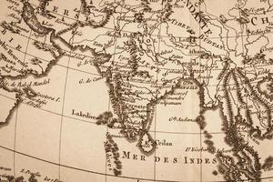 vecchia mappa del mondo india foto