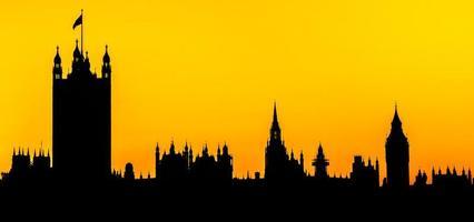 case del parlamento, silhouette di londra foto