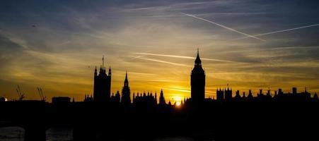 skyline della città di Londra al tramonto