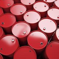 grande gruppo di barili di petrolio rosso. foto