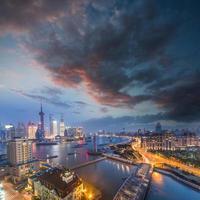 vista notturna a Shanghai in Cina