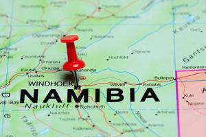 Windhoek imperniata su una mappa dell'Africa