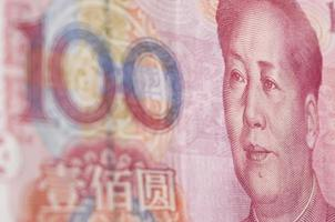 macro-colpo per renminbi (rmb), 100 cento dollari. foto