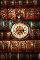libri antichi e orologio da tasca vintage foto
