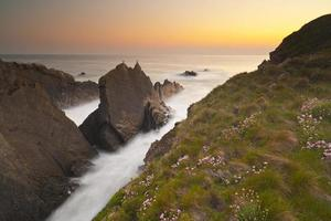 hartland quay sunset, north devon, regno unito