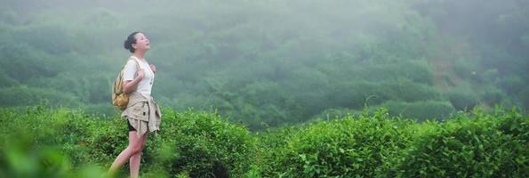 donne che guardano il campo della piantagione di tè. foto