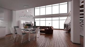 Rappresentazione interna 3d di un sottotetto minuscolo moderno foto