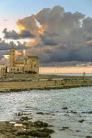 porto al tramonto: cattedrale romanica, trani (puglia) -italy-