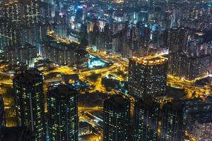 vista notturna di Hong Kong