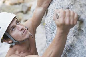 ramsau, silberkarklamm, arrampicata su roccia uomo, da vicino