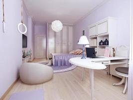 camera da letto in stile liberty con area di lavoro foto