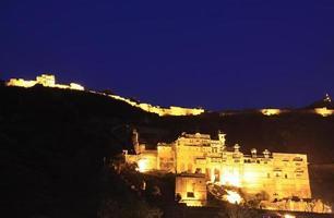 Bundi Palace di notte, India foto