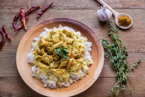 pollo al curry indiano con riso bianco foto