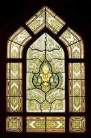 motivo tailandese antico del vetro macchiato del tempio, Bangkok Tailandia foto