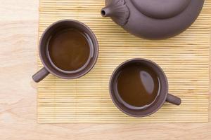 vicino teiera e tazza da tè foto