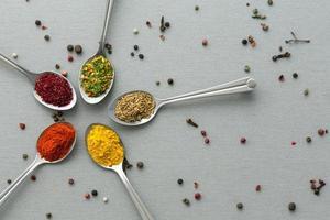 Close up di cinque tipi di condimento asiatico su fondo in legno foto