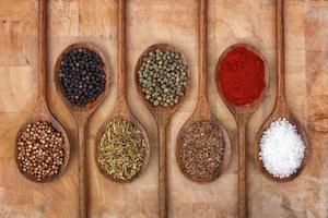 spezie su cucchiai di legno