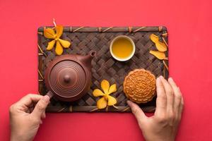 mooncake e tè foto
