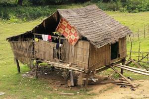 palafitte in un piccolo villaggio vicino a Kratie, in Cambogia foto