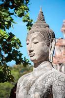 primo piano della statua di pietra del buddha a Wat Mahathat, Ayutthaya, Tailandia foto